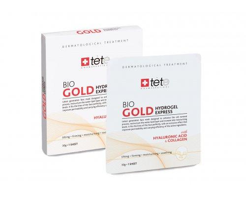 TETe BIO Gold Collagen Mask Коллагеновая маскадля лица моментального действия с коллоидным золотом упаковка (4 штуки)
