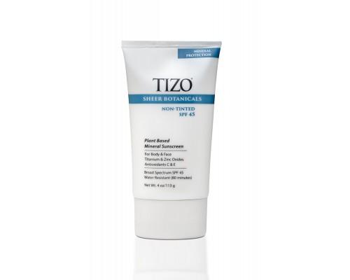 TIZO Sheer Botanicals Non-Tinted Солнцезащитный крем для лица и тела SPF 45, 113 мл