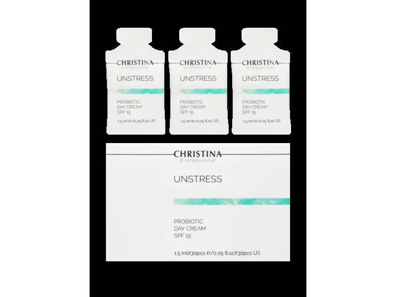 Дневной крем с пробиотическим действием SPF 15 в саше 1,5 мл х 30 шт 45 мл Unstress-Probiotic day cream SPF-15 sachets kit 30 pcs  Применение